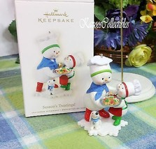 Hallmark Season's Treatings ornament 2008 Snowman baking ornament - $29.65