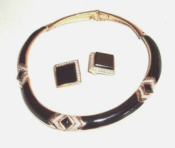 Panetta Black & Gold Tone Rhinestones Vintage Choker Style Necklace & Earrings - $138.55