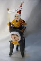 Vintage Inspired Spun Cotton Girl on Black Cat Hallowee image 2