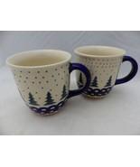 Boleslawiec Polish Pottery BOW 2 pattern - set/lot of 2 Coffee mugs - 3 ... - $28.71