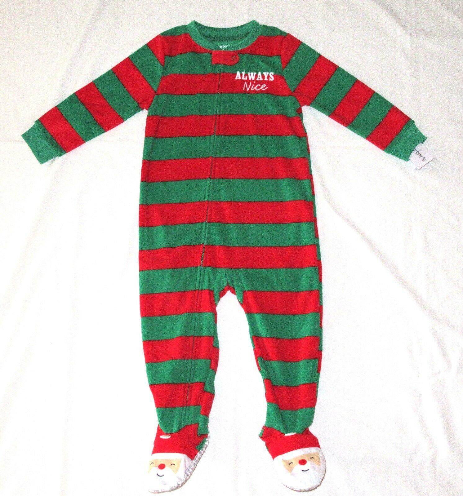 71868d8b4 Boy Girl 4T Carters Fleece Footed pajama Blanket Sleeper Santa Feet Always  Nice - $7.99