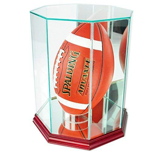 Perfect Cases NFL Upright Octagon Football Glass Display Case, Cherry