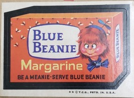 1974/ 6th S TOPPS WACKY sticker Blue Beanie Margarine Be A Meanie  - $1.95