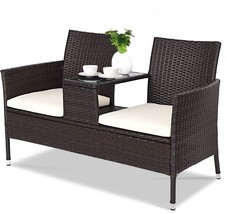 Double Rattan Patio Seat Outdoor Garden Cushioned Chairs With Tea Coffee... - $172.00