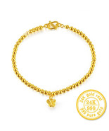 ZZZ 24k Pure Gold Bracelets Classic Ball Butterfly Simple Beautiful Bangle - $989.99