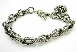 "Brighton B Silver Tone Bibi Heart Charm 7.5"" Link Bracelet - $29.57"