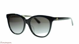 Gucci Women Oval Sunglasses GG0081SK 001 Black/Grey Gradient Lens 56mm Authentic - $208.55