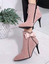 PB172 elegant bowtie booties with zipper side, stiletto, US Size 5-8.5, pink - $52.80