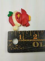 Vintage Hallmark Christmas Magnet Red Bird w/ Glittery Santa Hat Holly  image 3