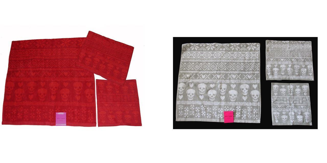 3 Betsey Johnson Grey Red Skulls Hearts FAIRE ISLE Bath/Hand Towel Washcloth NWT - $39.99