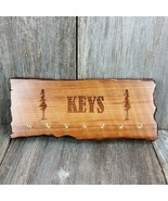 Handmade Wood Key Rack Organizer Holder 7 Hook Rustic Redwood Live Edge #2 - $44.99