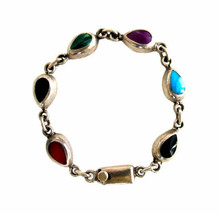 Vintage Mexican Sterling Silver with Multi Stone Link Bracelet - $76.00