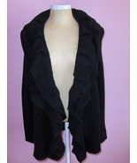Simply Vera Vera Wang Womens Cardigan Black Sweater XL With Ruffles - $19.99