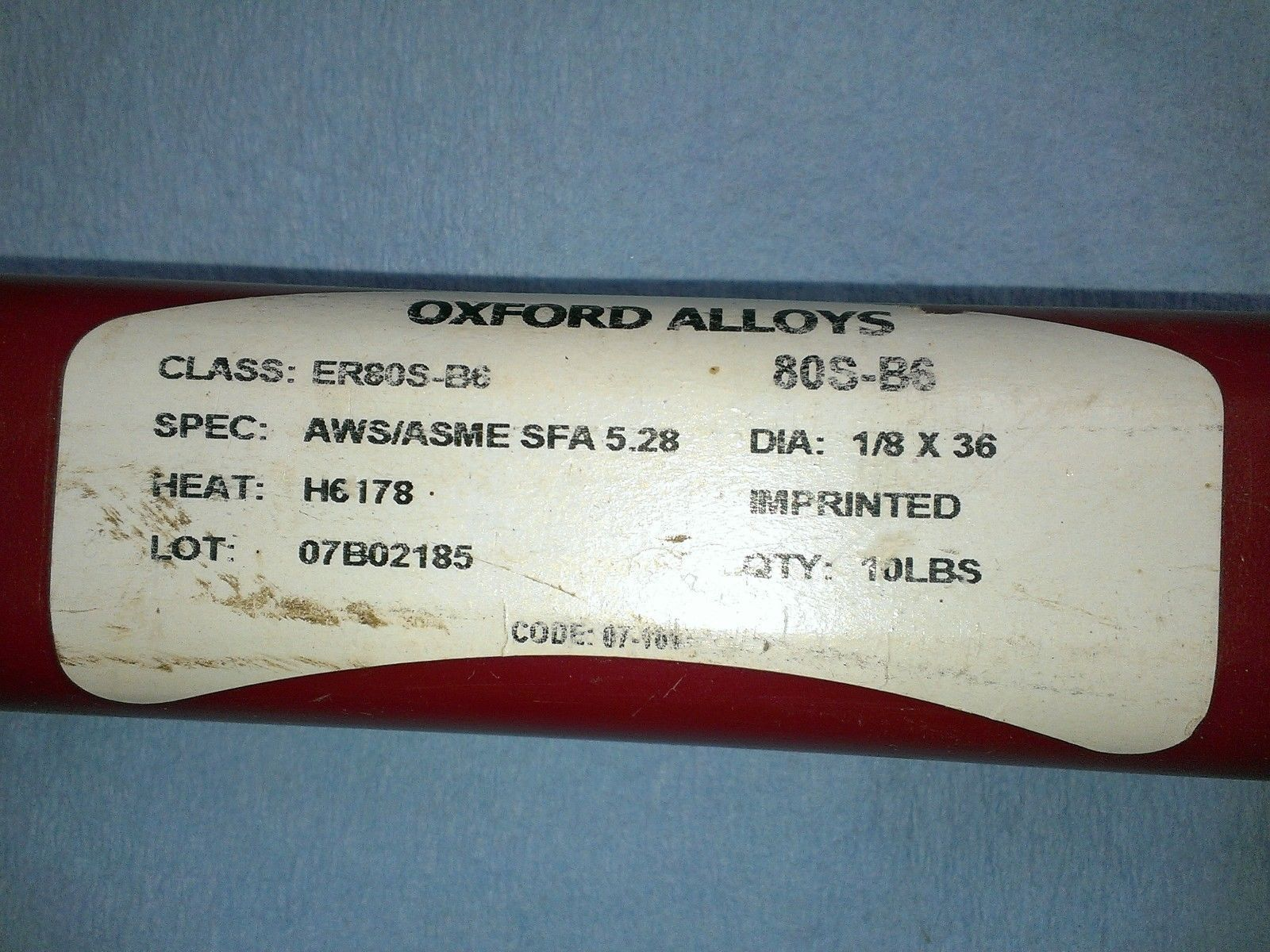Primary image for Oxford Alloys, ER80S-B6, AWS/ASME SFA 5.28, HEAT H6 178,DIA: 1/8X36,LOT 07B02185