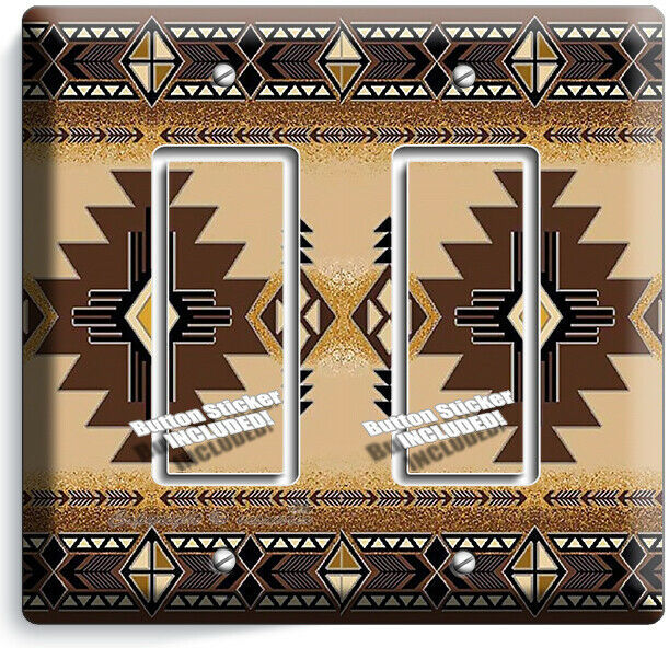 BROWN LATIN SOUTHWEST BLANKET PATTERN 2 GFCI LIGHT SWITCH WALL PLATES ROOM DECOR