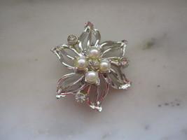 Vintage Silver Tone Imitation Pearl & Rhinestone Flower Pin or Brooch - $5.00