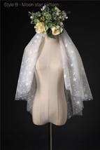 Ivory Shoulder Length Wedding Bridal Veils Layer Floral Lace Tulle Bridal Veils  image 13
