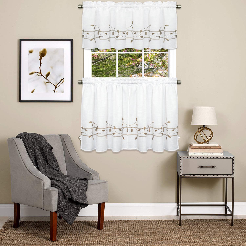 Trellis Scrolling Leaf Pattern Kitchen Window Curtain Tiers or Valance Toast - $13.59 - $20.29