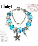 Hin charm bracelet blue heart crystal bead pandora bracelet bangle pulseiras mujer for thumbtall