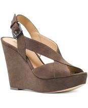 """New in Box MICHAEL KORS Taupe Suede Becky Wedge Sandals 5"""" Heel Open Toe 9 - $89.99"""