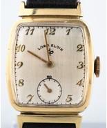 Lord Elgin Men's Vintage 14k Gold Wristwatch Leather Strap w/ Original Case - $799.76
