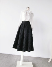 Lady Black A Line Full Pleated Skirt High Waist Midi Black Skirt with polka dot image 3