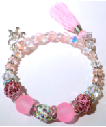 Single Loop Memory Wire Bracelet With Pink, Crystal & Silver Beads With ... - $28.00