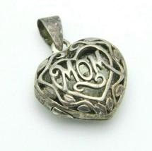 Sterling Silver .925 Mom Filigree Openwork Locket Necklace Pendant Vintage - $24.74