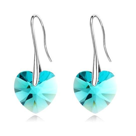 ANNGILL Korean Crystals From Swarovski Heart Dangle Drop Earrings Fashion Brinco