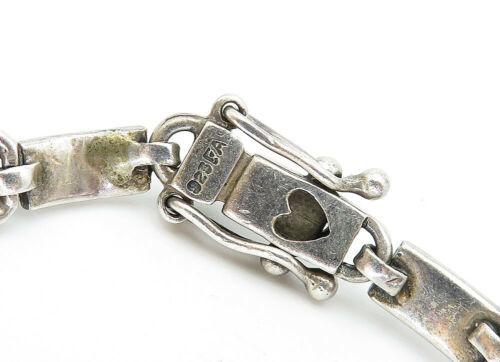 925 Sterling Silver - Vintage Marcasite Decorated X Link Chain Bracelet - B5823