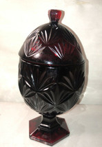 Luminarc Durand Cristal D'arque Cranberry Ruby Red Glass Egg Pedestal Ca... - $14.85