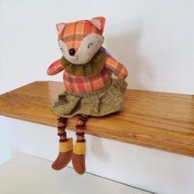 Fox Shelf Sitter, Plaid Fabric, girl fox with tweed skirt and ruffle, fall decor