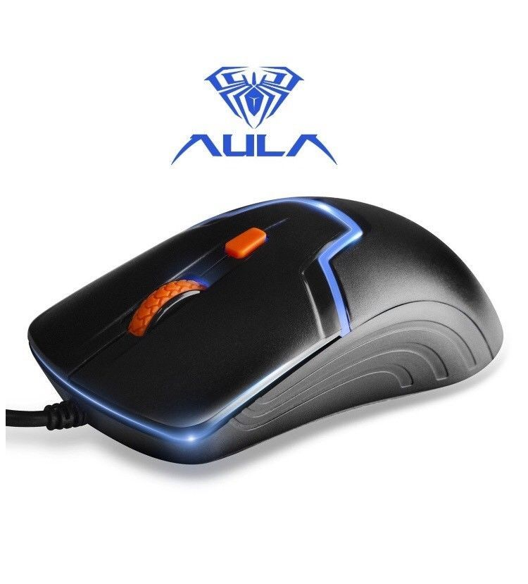 AULA Skyline Gaming Mouse Wired 3 Color LED Light Black Blue 1000/1600 DPI