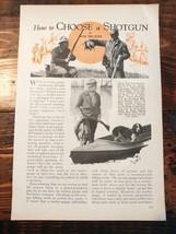 1932 How to Choose a Shotgun Hunting Shooting Gauge Barrel Choke - $15.00