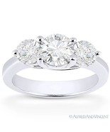 Forever ONE D-E-F Round Cut Moissanite 3-Stone Engagement Ring in 14k Wh... - €846,64 EUR+