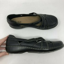Clarks Collection Mary Jane Flats Shoes Womens 10W Black Leather Comfort - $38.68