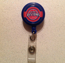 Nba Detroit Pistons Badge Reel Id Holder Birthday Red Blue Handmade New - $6.95