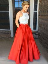Red Full Pleated Maxi Taffeta Skirt Lady Taffeta Maxi Party Prom Skirt Plus Size image 3