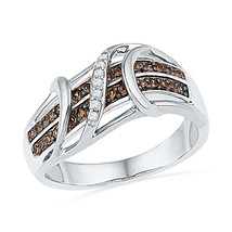 10kt White Gold Round Cognac-brown Colored Diamond Crossover Strand Band... - £233.64 GBP