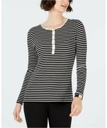 Charter Club Women's Black/White Striped Ribbed Henley Top Petite Size P... - $19.79