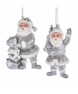 KURT ADLER SET OF 2 SILVER & WHITE SANTA GLITTERED CHRISTMAS ORNAMENTS E... - $24.88