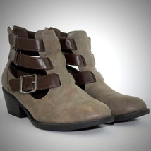 Soda Vegan Boots 9 Cut Out Buckle Ankle Multiple Strap Booties Stacked Heel Gray - $27.67
