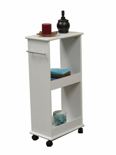 NEW Space Saver Rolling Side Cabinet Bath Storage 2 Shelf Roll Holder Solid Top