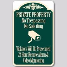 "Private Property No Trespassing No Soliciting Video Surveillance Sign 8""... - $16.82"