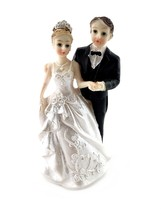 """Bride on his Right in Tiara and Groom in Black Tie Cake Top 4.75"""" Tall - $5.93"""
