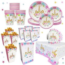 Unicorn Party Supplies Set for 16 | Plates, Cups, Table Cloth, Napkins, ... - $26.32