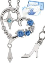 Disney 35th Anniversary Cinderella glass shoes motif necklace Open Heart... - $224.73