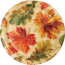 "Fall Flourish 8 ct 7"" Dessert Cake Plates Thanksgiving Banquet - $4.39"