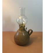 Artisan Pottery: Stoneware Oil Lamp with Glass Chimney (RB04) - $25.00