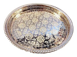 Moroccan Tea Silver Tray Engraved Arabic Patter... - $49.49